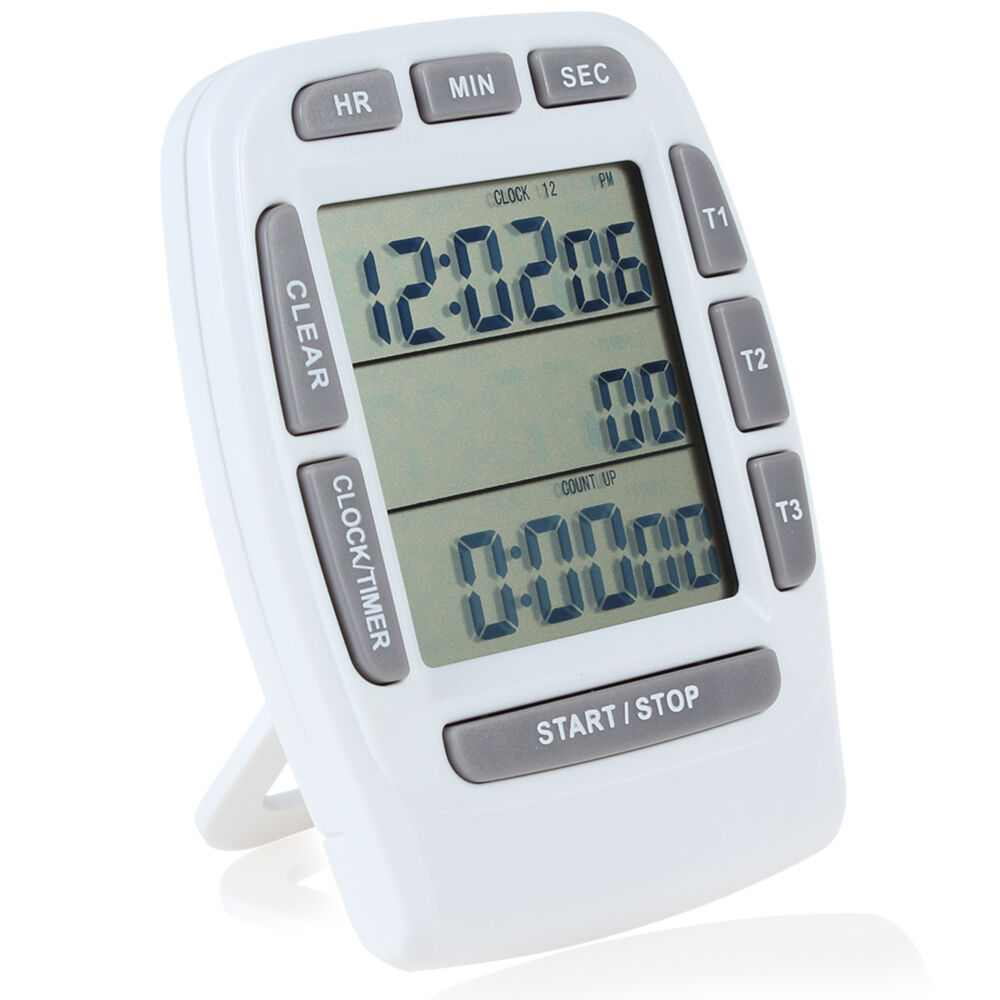 Digital LCD 3-Line Triple Alarm Countdown Stopwatch Timer ...