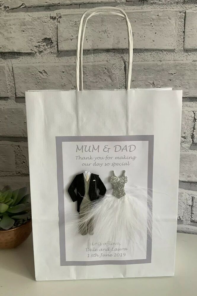 Personalised Wedding Thank You Gift Bags : PERSONALISED THANK YOU GIFT BAG MUM AND DAD WEDDING BRIDESMAID BEST ...