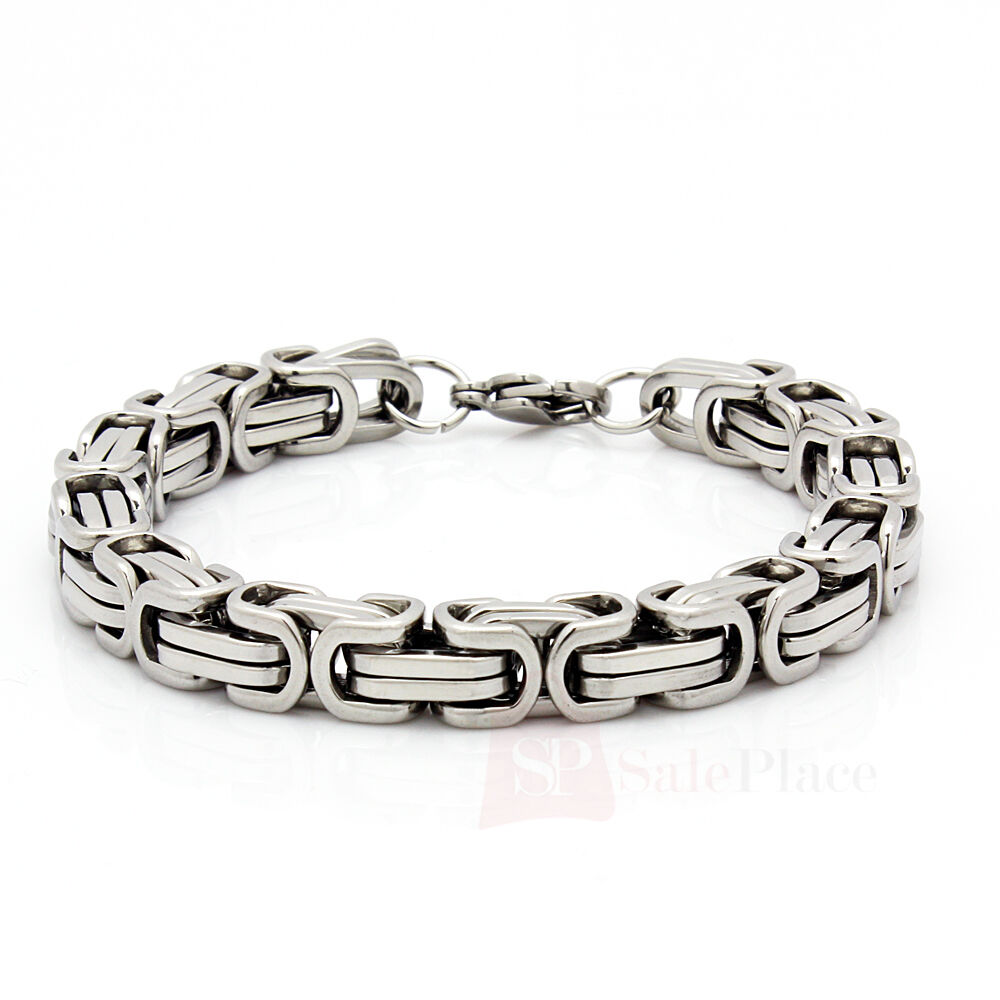 """Mens 8.5"""" Stainless Steel Silver Box Byzantine Chain Link"""