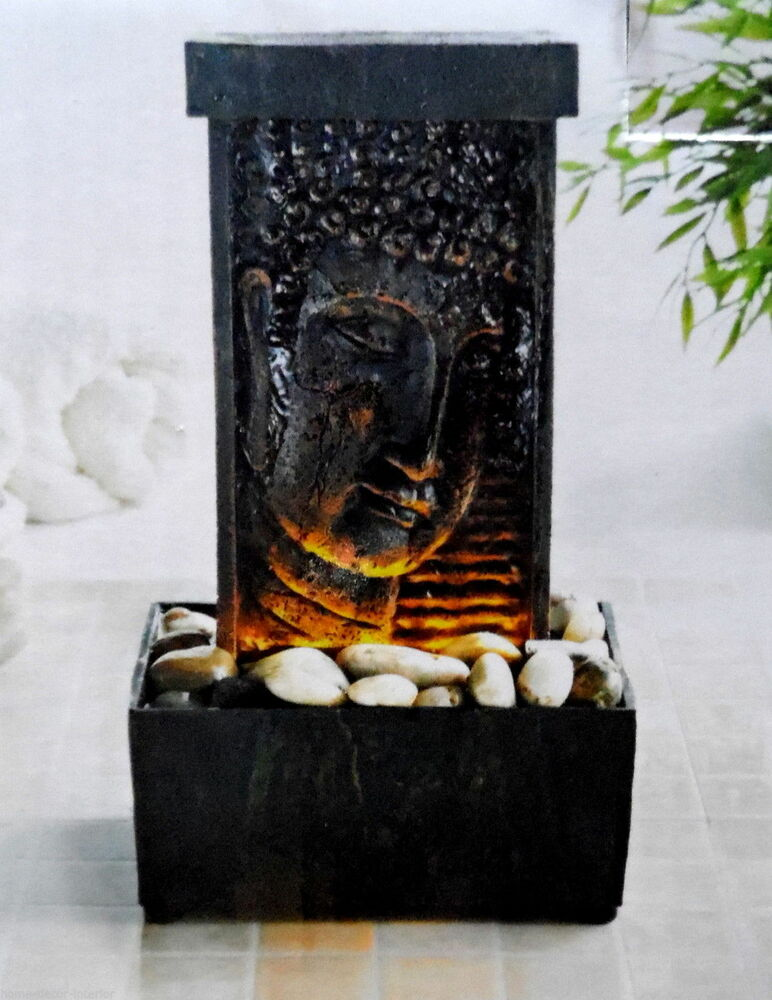 water buddha fountain ornament feature led lights up tranquil sound feng statue ebay. Black Bedroom Furniture Sets. Home Design Ideas