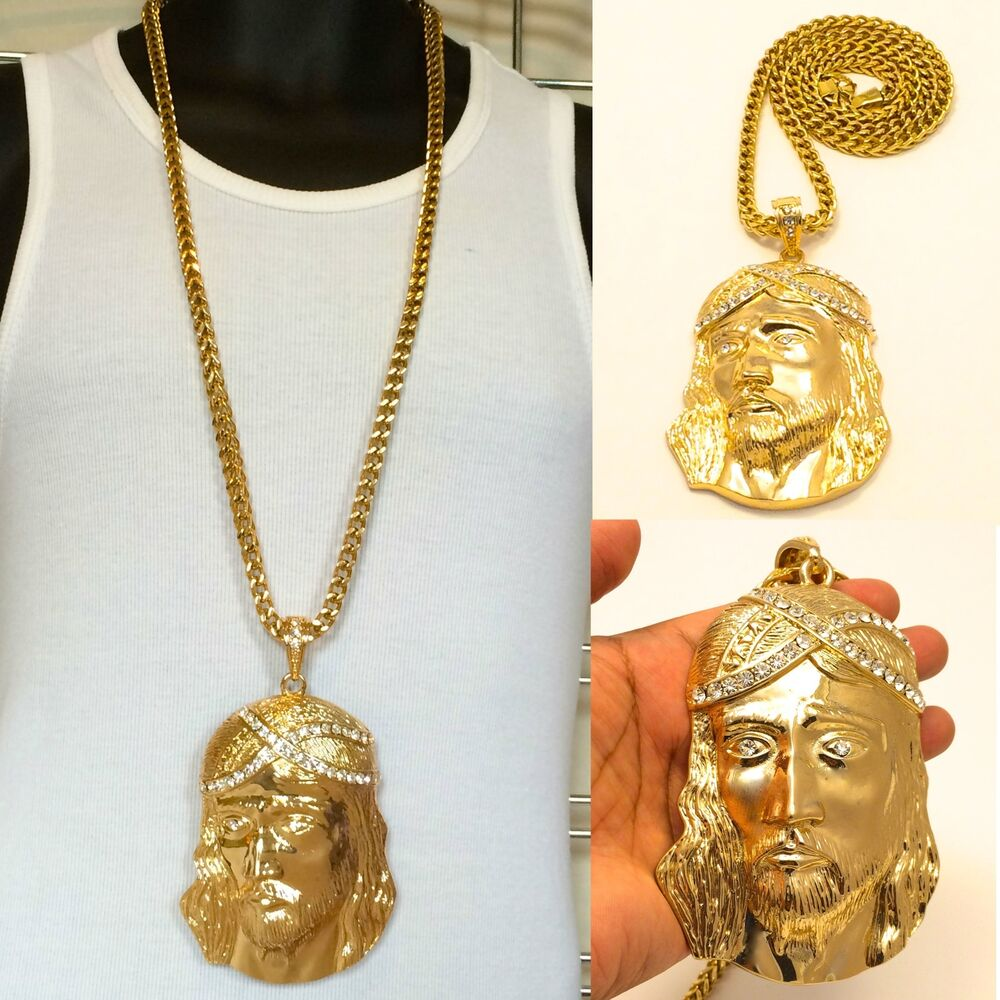"MENS X-LARGE GOLD JESUS PENDANT 36"" 8mm STAINLESS STEEL ..."