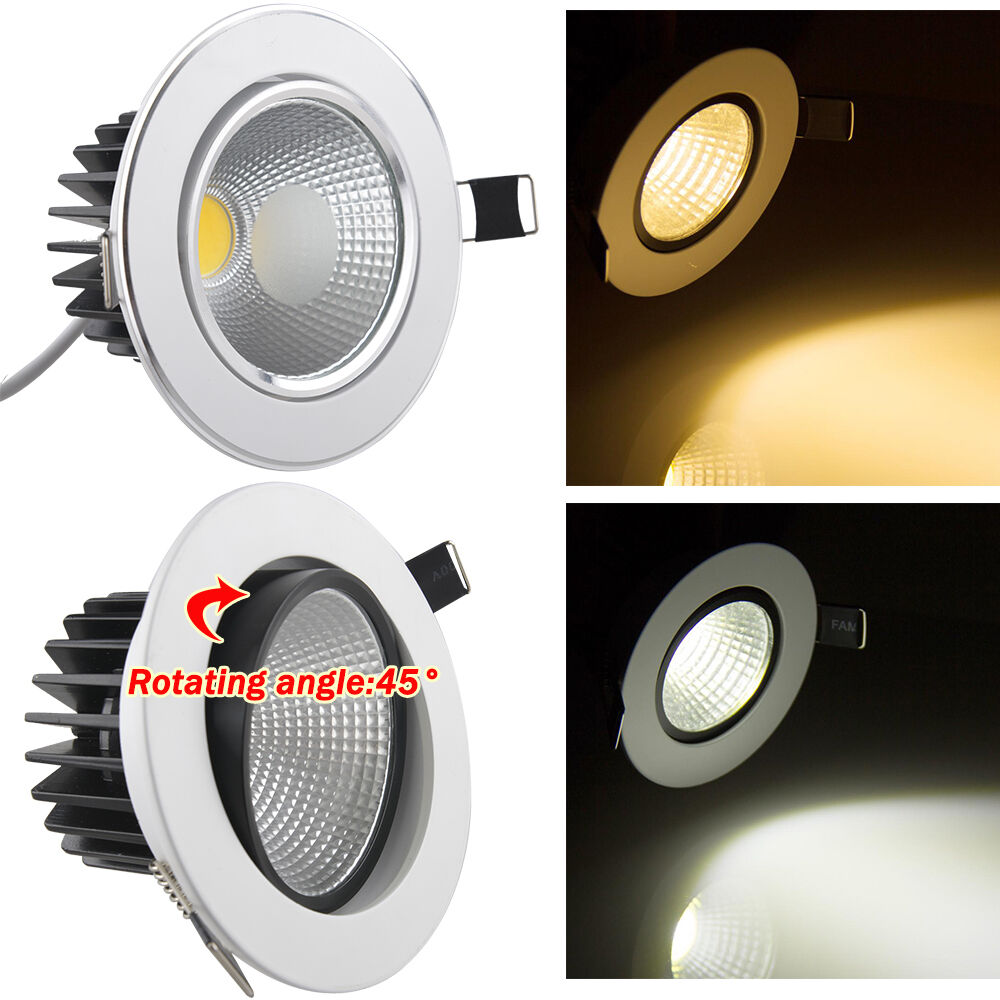 LED Recessed Fixture Ceiling Downlight 4W 6W 7W 12W COB Lamp Bulb VS Halogen