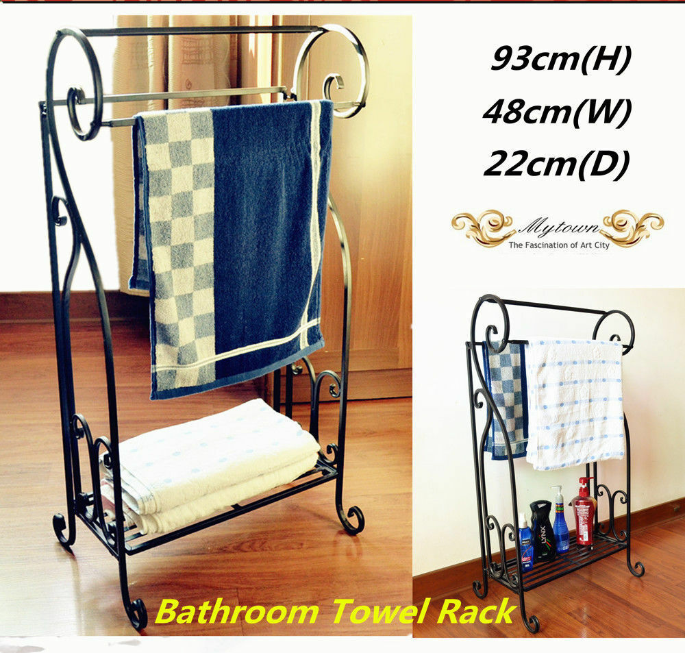 Iron french vintage bathroom towel rack stacker stand flat