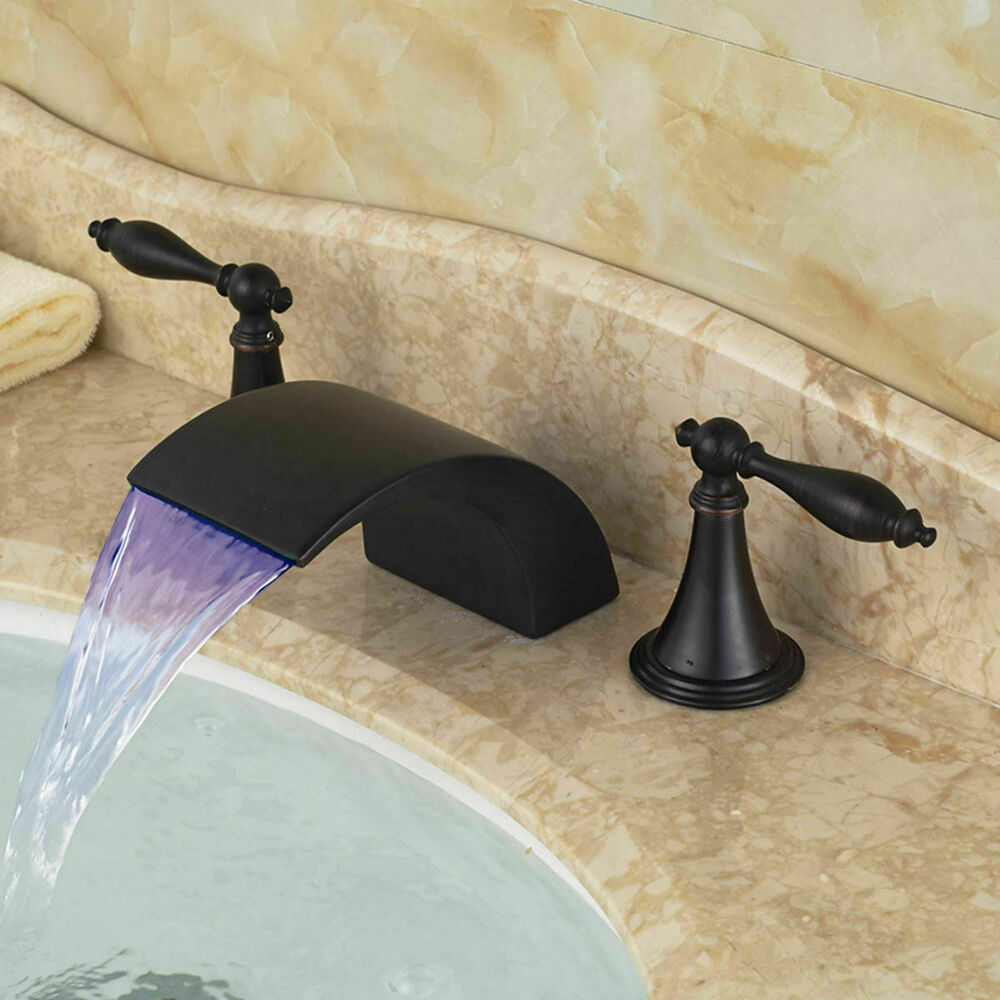 Oil Rubbed Bronze Widespread Basin Faucet Waterfall Spout