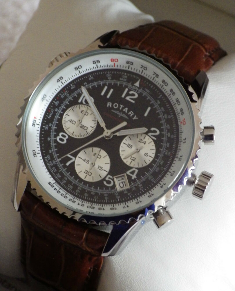 Rotary men s gb03351 chronospeed chronograph brown leather strap watch new ebay for Watches on ebay