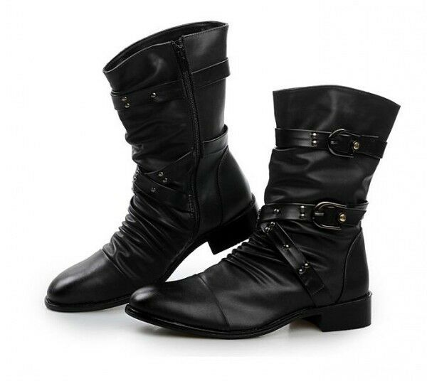 Punk Rock Black Goth Mens Zip Cuban Heel Band Buckle Boots