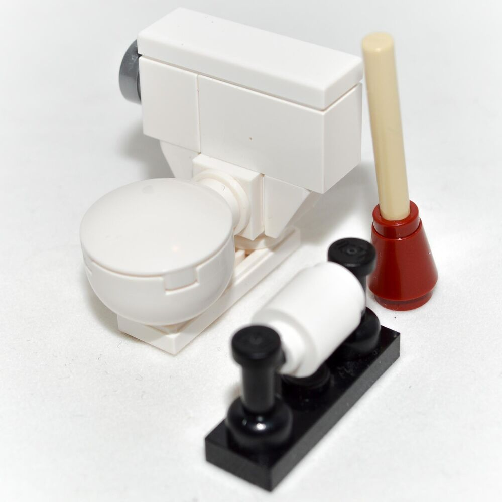 lego custom toilet bowl bathroom set w plunger toilet paper minifigure ebay. Black Bedroom Furniture Sets. Home Design Ideas
