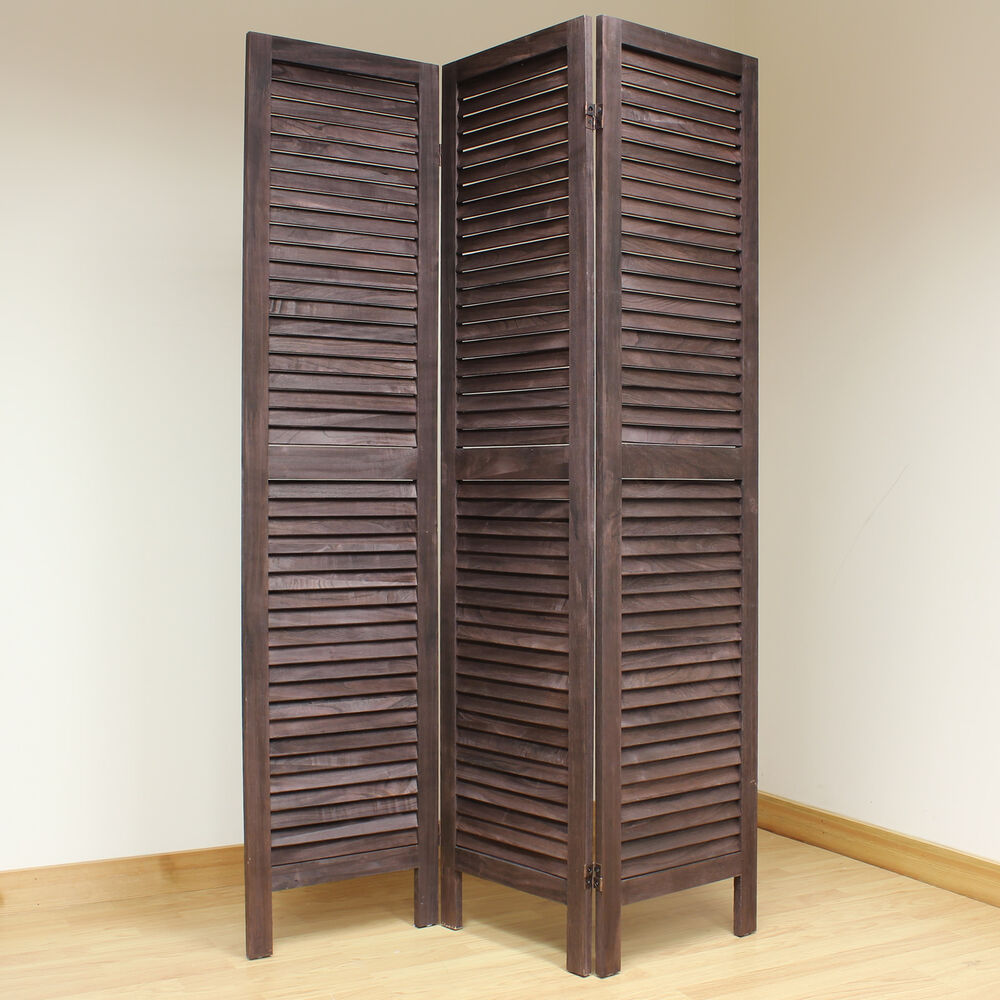 Brown 3 panel wooden slat room divider home privacy screen separator partitio - 3 panel screen room divider ...