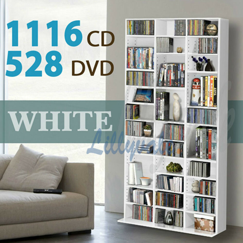 1116 cd 528 dvd storage shelf rack unit white adjustable In wall dvd storage