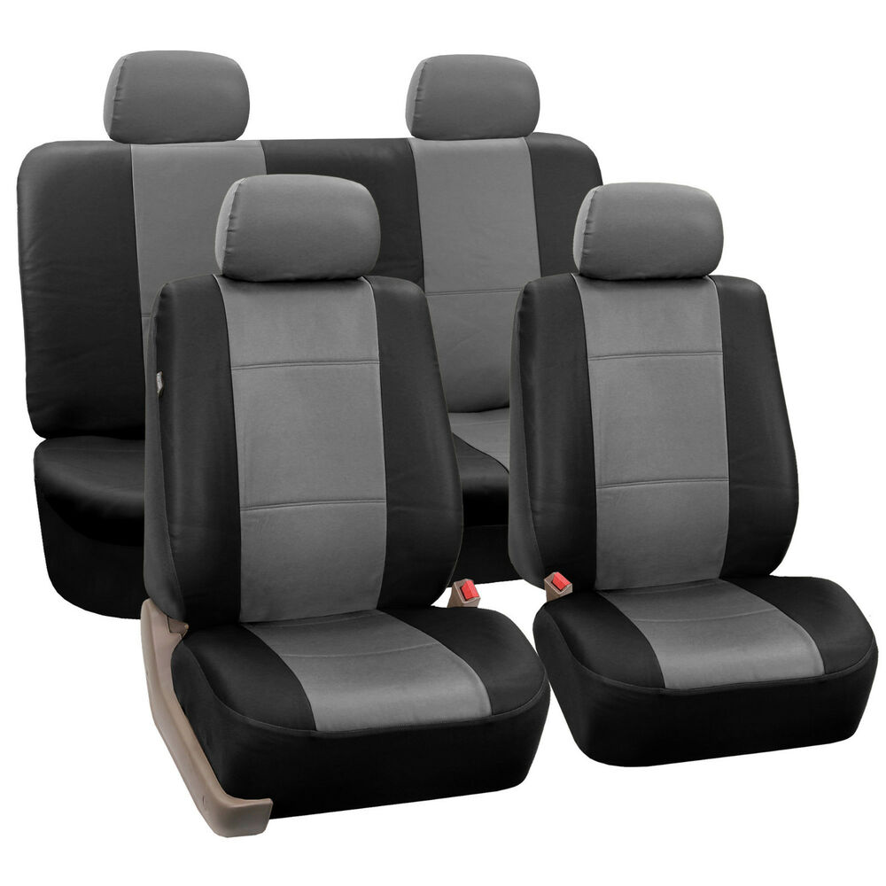 Gray Amp Black Car Seat Covers With PU Leather Full Set For