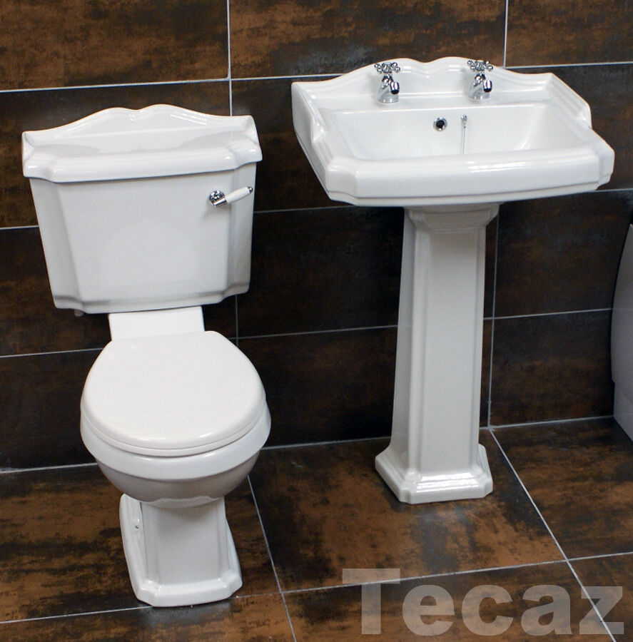 Victorian Bathroom Sink : ... Bathroom Set Basin Sink + Toilet Two Tap Hole Victorian Style eBay