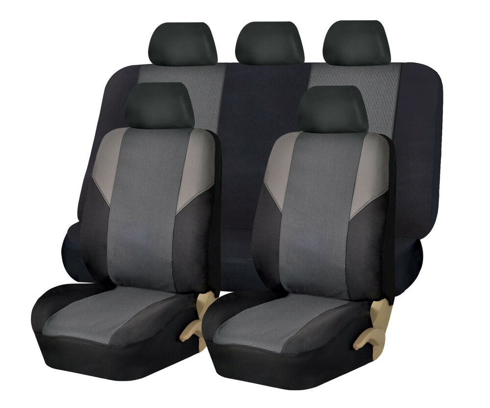 Cross Weave Fabric Seat Covers Full Set Airbag Compatible