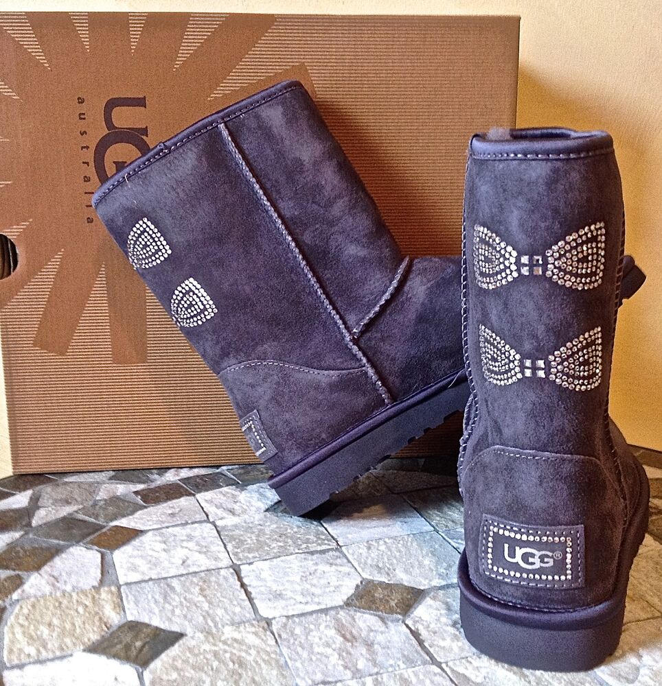 ugg australia classic short crystal bow boots grey swarovski 1006698 7 38 new ebay. Black Bedroom Furniture Sets. Home Design Ideas