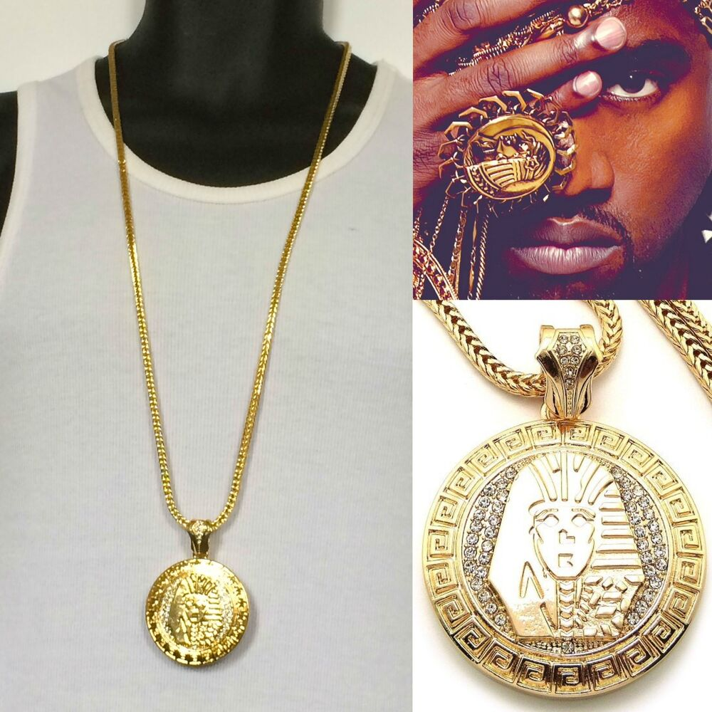 MENS NEW ICED OUT HIP HOP GOLD KING TUT MEDALLION PENDANT ...