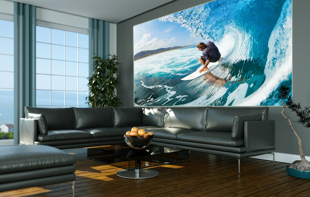 wellenreiten surfer wanddekoration hawaii surfbrett xxl wandbild wohnzimmer ebay. Black Bedroom Furniture Sets. Home Design Ideas