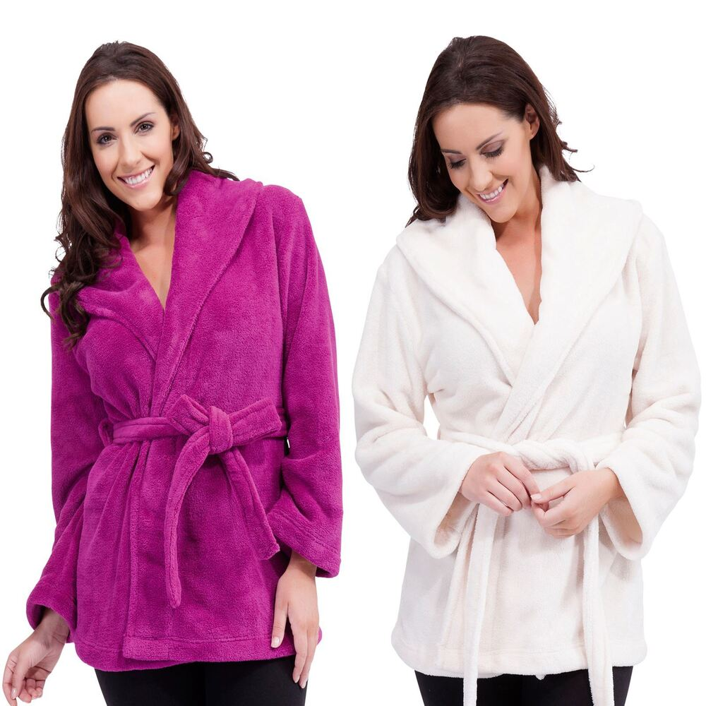 Bathrobe: Ladies Womens Mini Dressing Gown Bath Robe Bathrobe Soft
