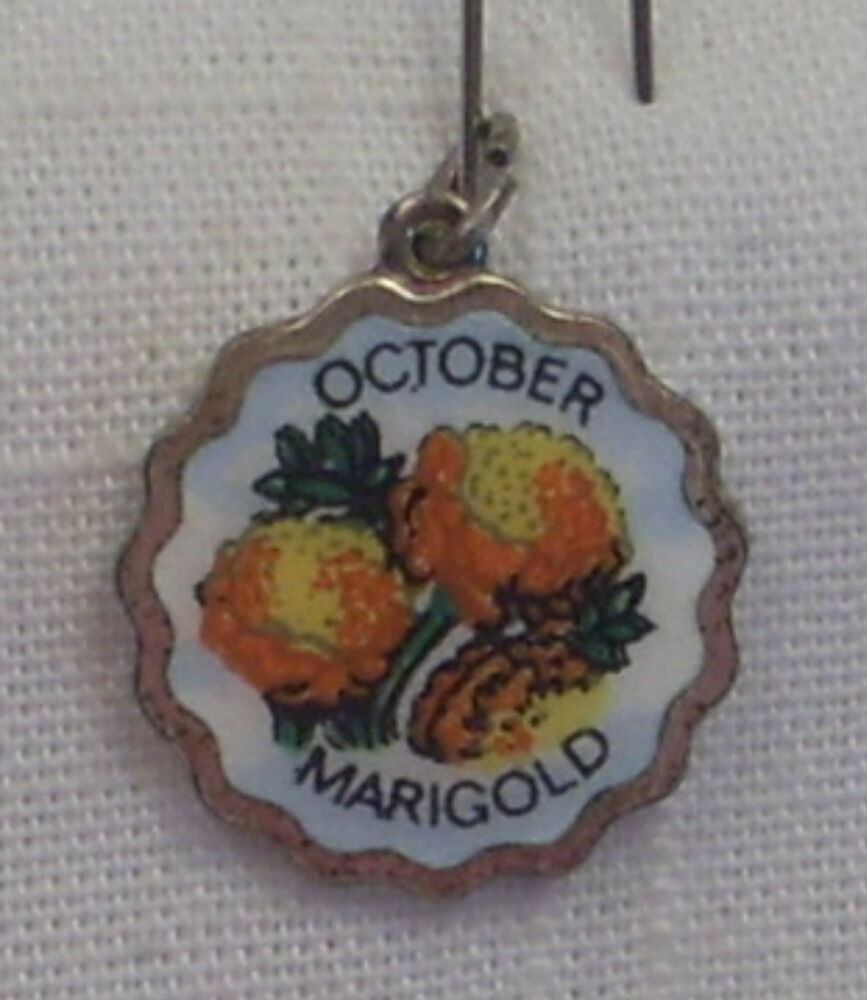 Vintage REU Silver Plated/Enamel October/Marigold Birth