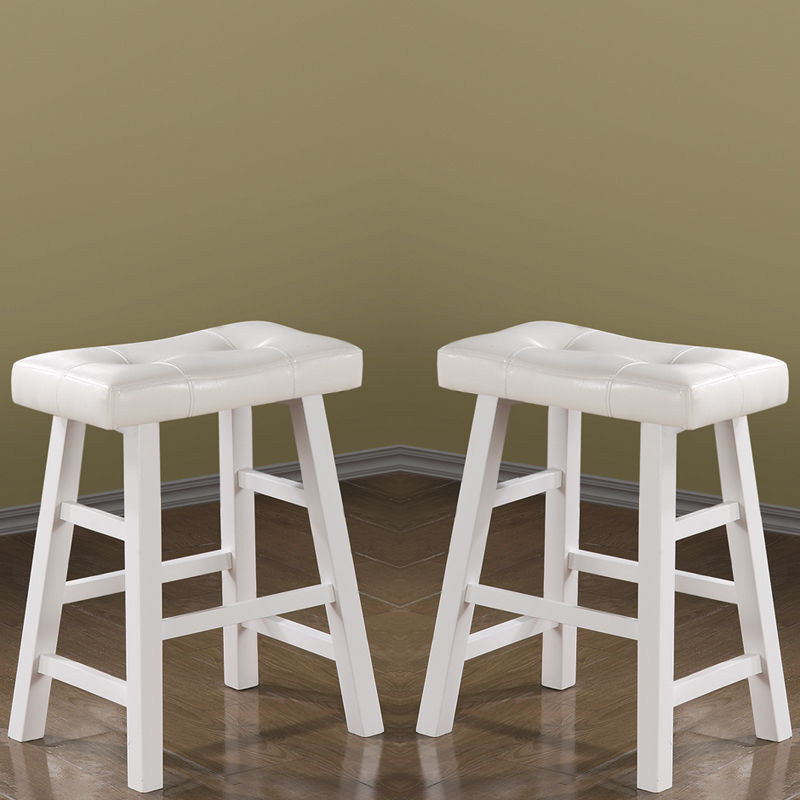 Pure White Faux Leather Set Of 2 24 Quot Bar Stools Saddle