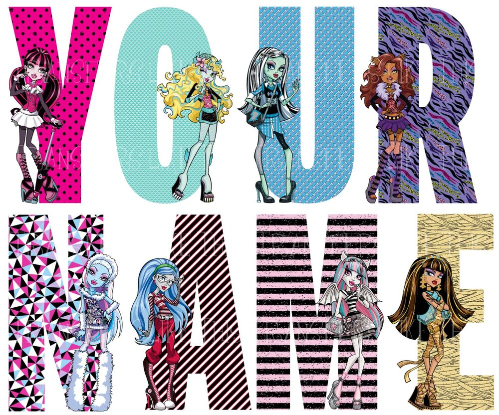 Monster high letter name stickers wall deco decal 3 sizes personalised lot mh ebay - Mh deco ...