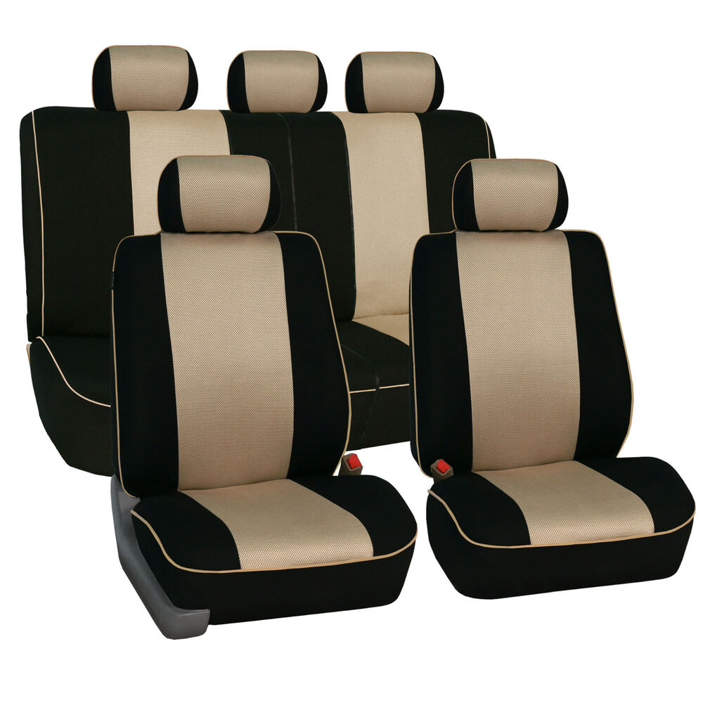 beige black car seat covers full set piping style airbags compatible for toyota ebay. Black Bedroom Furniture Sets. Home Design Ideas