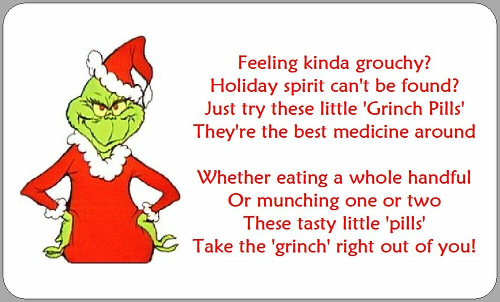 21x GRINCH PILLS POEM LABELS STICKERS CHRISTMAS NOVELTY FUN XMAS ...