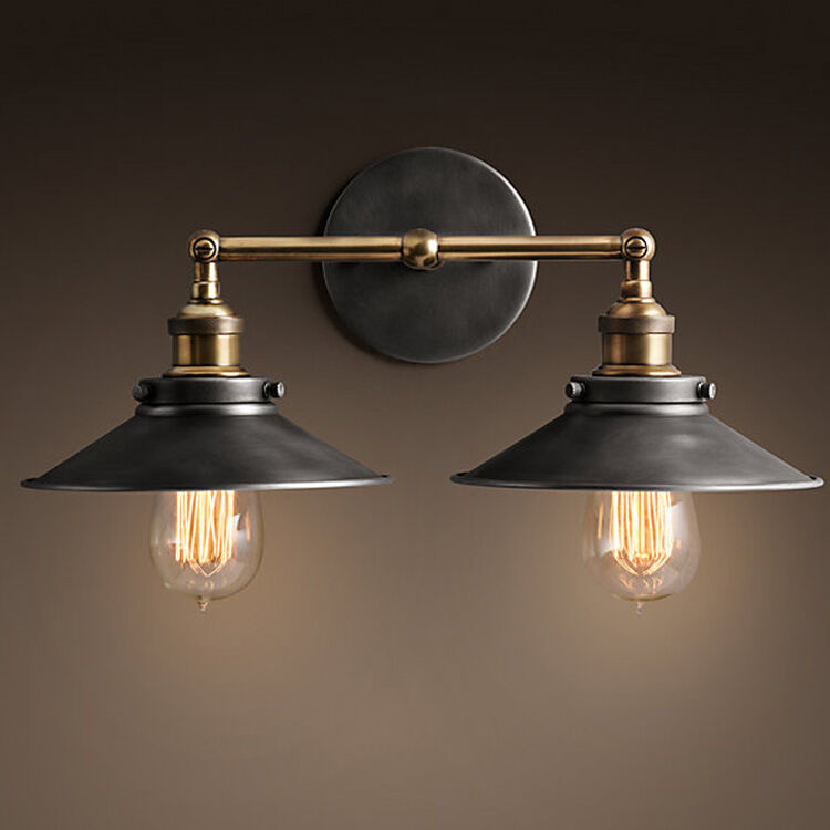 modern vintage industrial loft metal double rustic sconce wall light. Black Bedroom Furniture Sets. Home Design Ideas