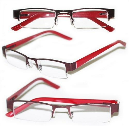 Glasses With Only Top Frame : Reading Glasses BRUSHED METAL Top Only Rich RED Frame ...
