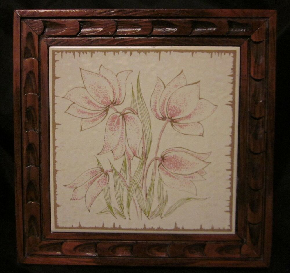Italian Tile Trivet Siena Ceramic Art Tulips Wood Hand