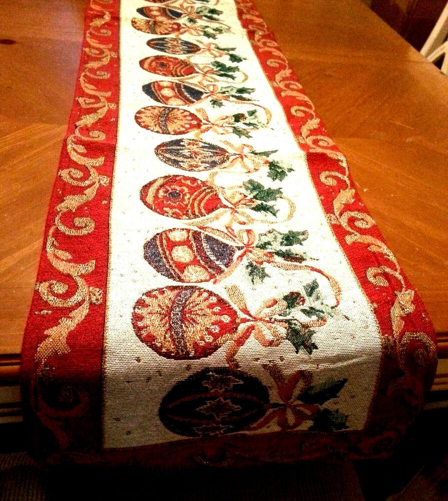 6ft christmas ornaments tapestry table runner holiday for 12 ft table runner