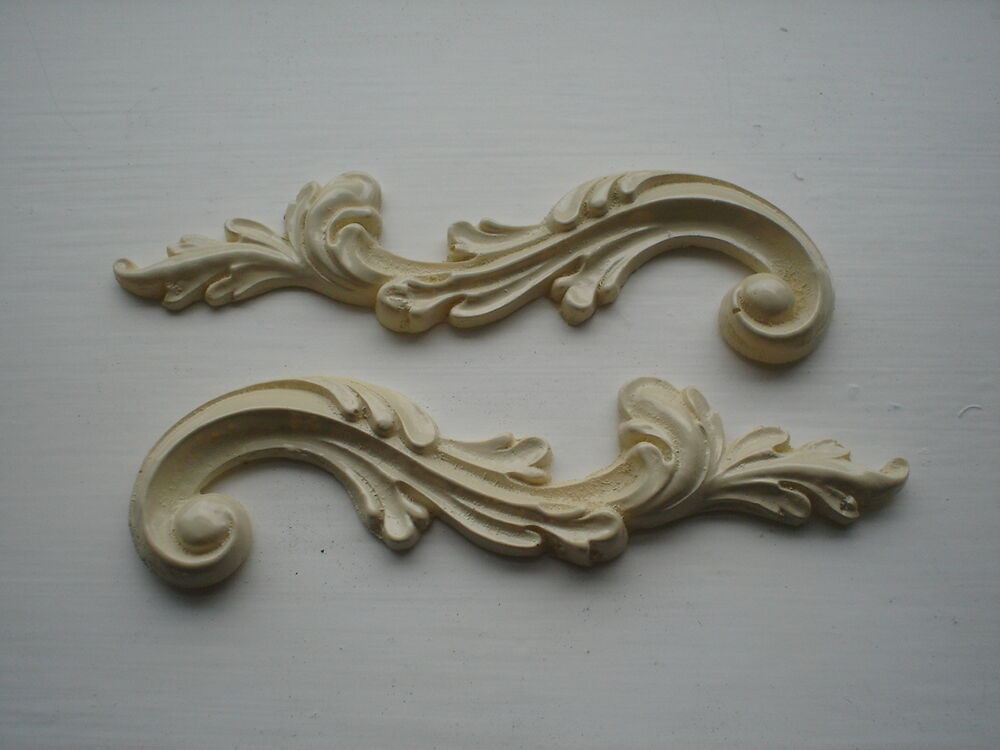 georgian scrolls ornate decorative mirror mouldings colour ivory resin ebay. Black Bedroom Furniture Sets. Home Design Ideas