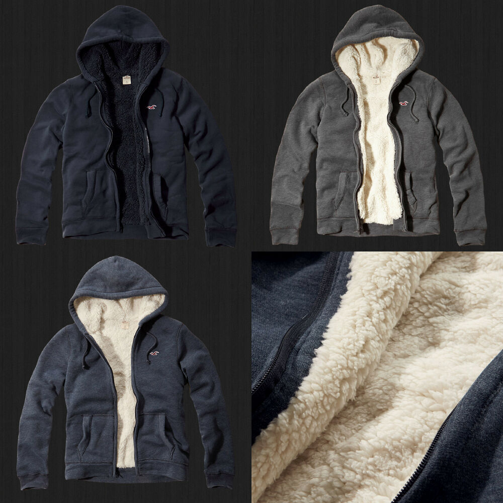 New 2014 Hollister Men Seascape Sherpa-Lined Fur Hoodie ...