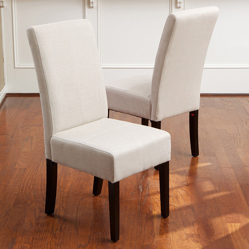Set of 4 elegant design natural linen upholstered parsons for What is a parsons chair style