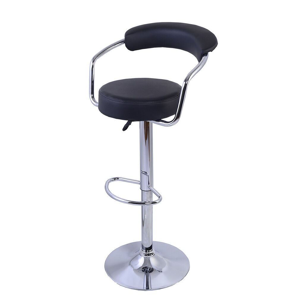 Casino Bar Stool Swivel Faux Leather Chrome Breakfast