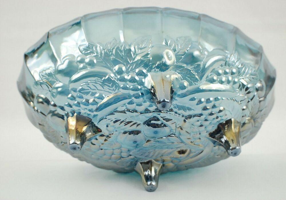 Harvest blue carnival glass oval footed centerpiece bowl