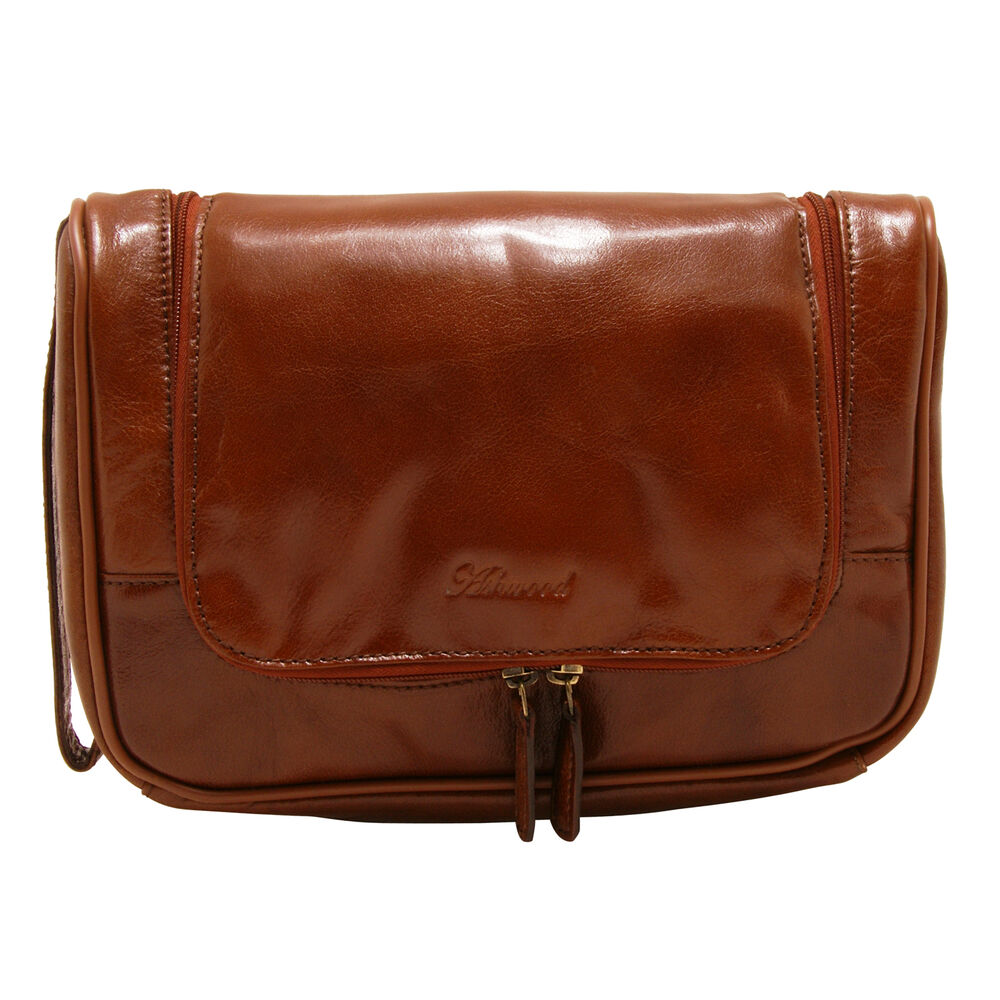 7e0d145d63 Details about Ashwood - Chestnut Brown Hanging Chelsea Wash Bag in Veg  Tanned Buffalo Leather
