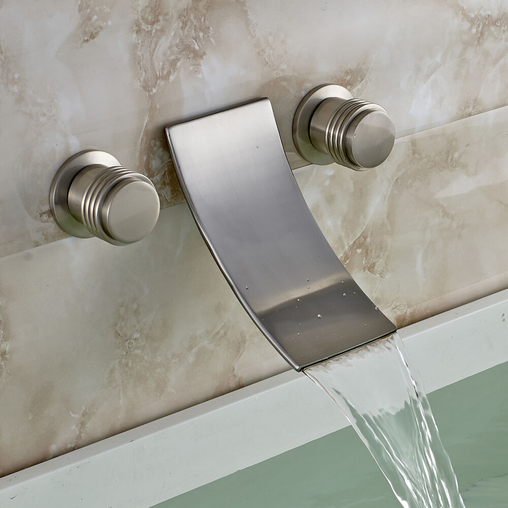 Brushed Nickel Waterfall Spout Bath Sink Faucet Wall Mount 3 Holes Tub Mixer Tap Ebay