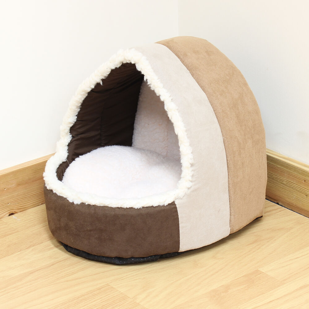 Pet Cat/Kitten Soft Brown Plush Igloo Bed Warm Cave/House