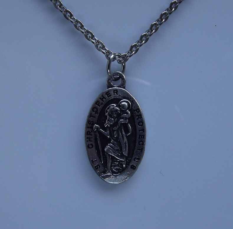 st christopher protect us pendant necklace christian