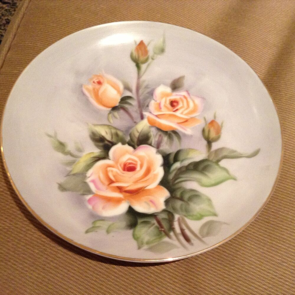 Antique yellow rose of texas hand painted wall hanging Beautiful plates