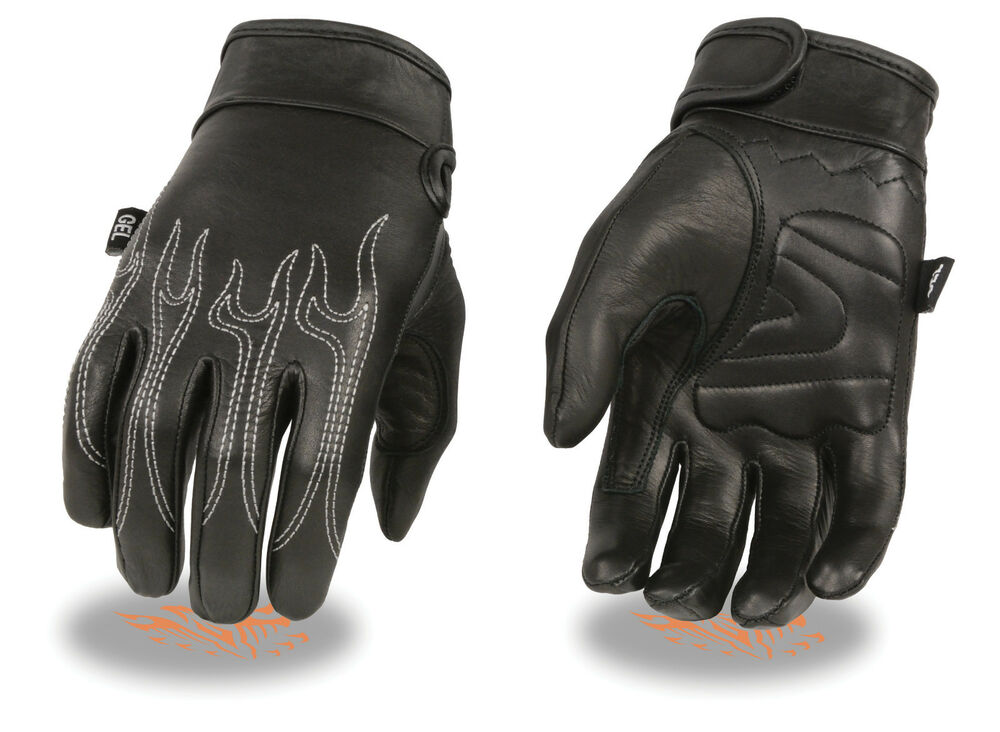 Mens Flame Embroidered Leather Motorcycle Riding Glove w ...