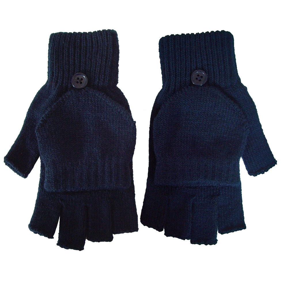 Knitting Patterns For Fingerless Gloves With Mitten Cover : Unisex Knited Fingerless Gloves Convertible Mitten Flip ...