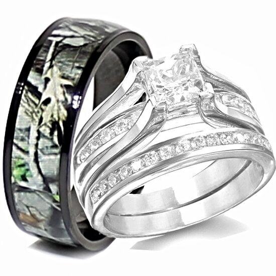 camo wedding rings his titanium camo amp hers sterling silver wedding rings set 2409