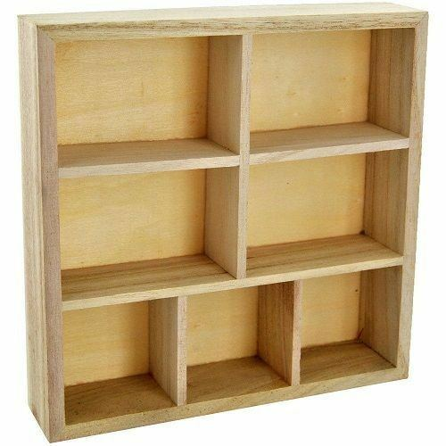 wood wooden craft storage unit floating wall cube display shelf 7 compartment 5024418597520 ebay. Black Bedroom Furniture Sets. Home Design Ideas