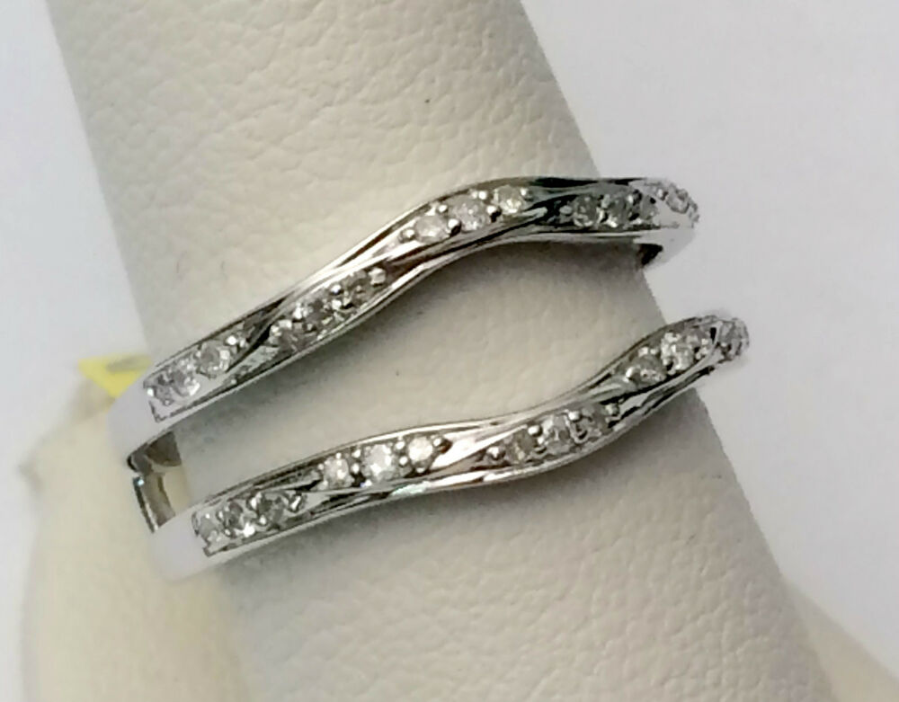 diamonds ring guard wrap 14k white gold solitaire
