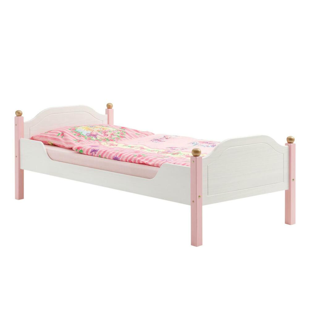 einzelbett kinderbett m dchenbett bett kiefer massiv weiss rosa 90x200 cm ebay. Black Bedroom Furniture Sets. Home Design Ideas