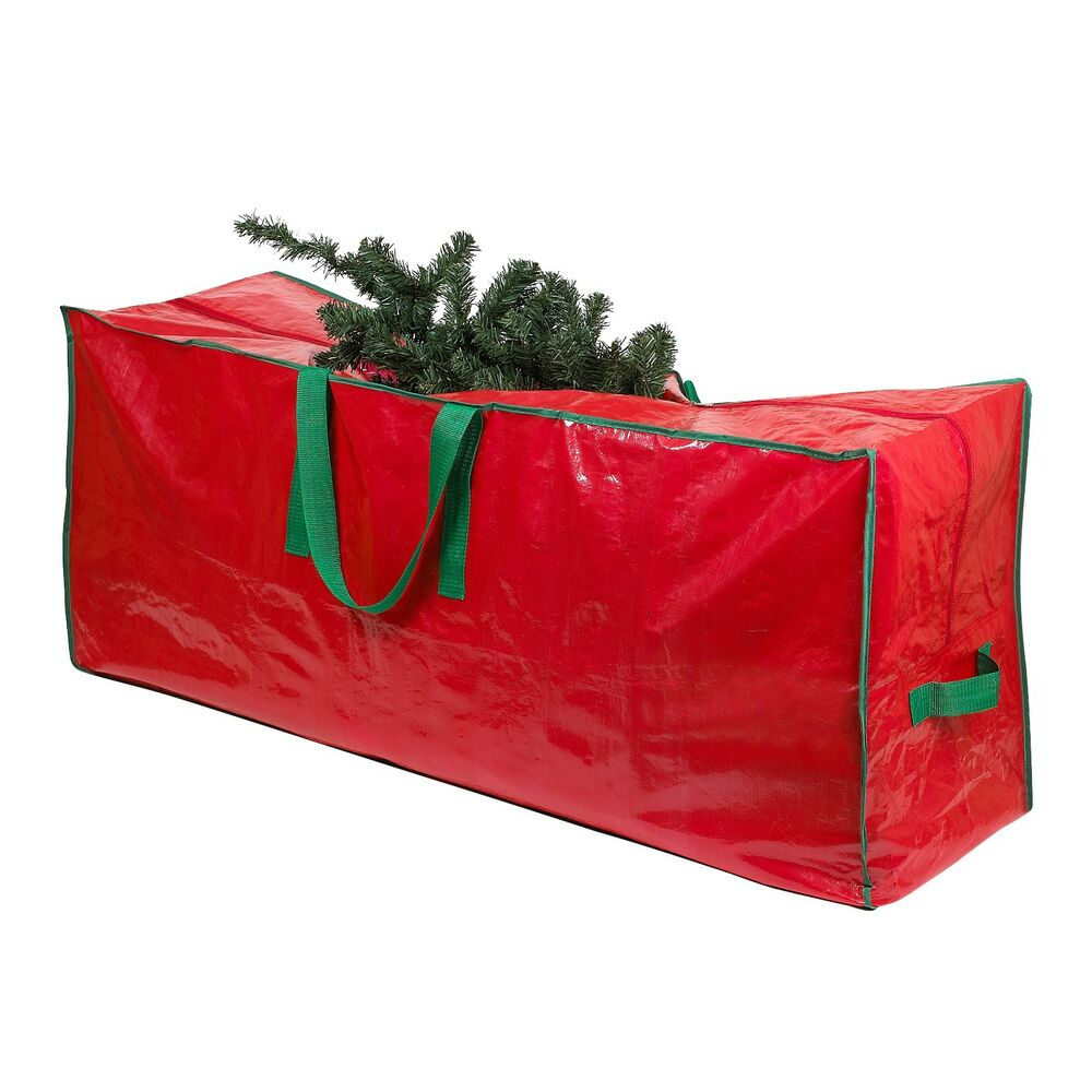 christmas artificial tree storage bag heavy duty tarp zippered with handles ebay. Black Bedroom Furniture Sets. Home Design Ideas