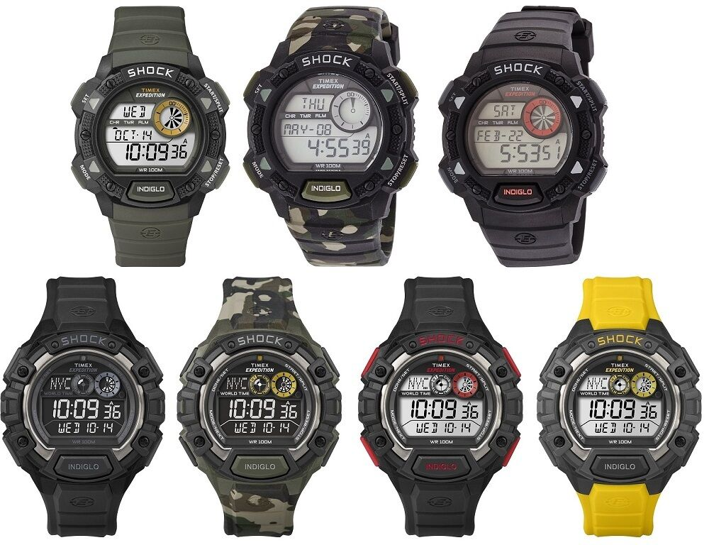 Timex expedition shock digital mens watch indiglo 100m alarm chronograph ebay for Indiglo watches
