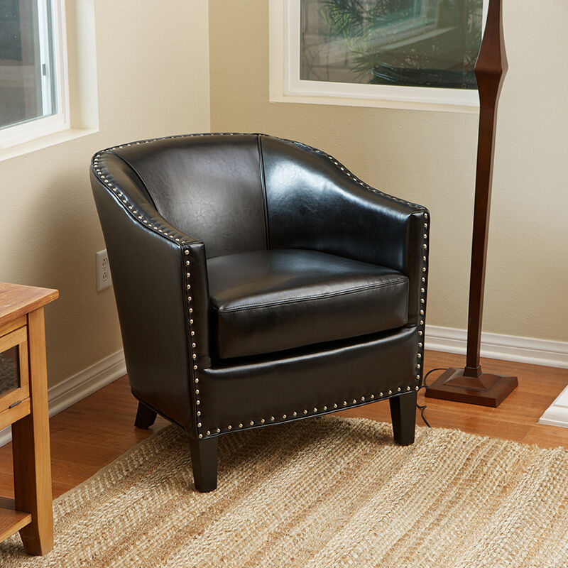 Elegant Tub Barrel Design Black Leather Club Chair With