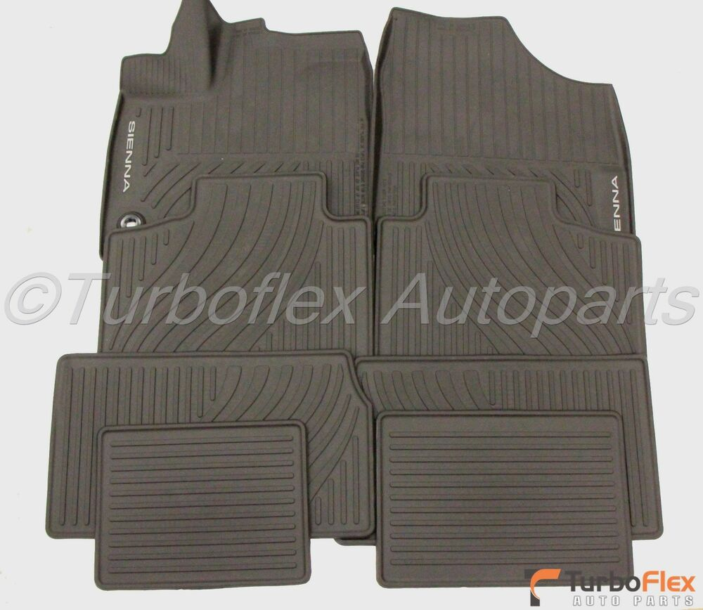 Toyota Sienna 13 15 Black All Weather Rubber Floor Mat Set