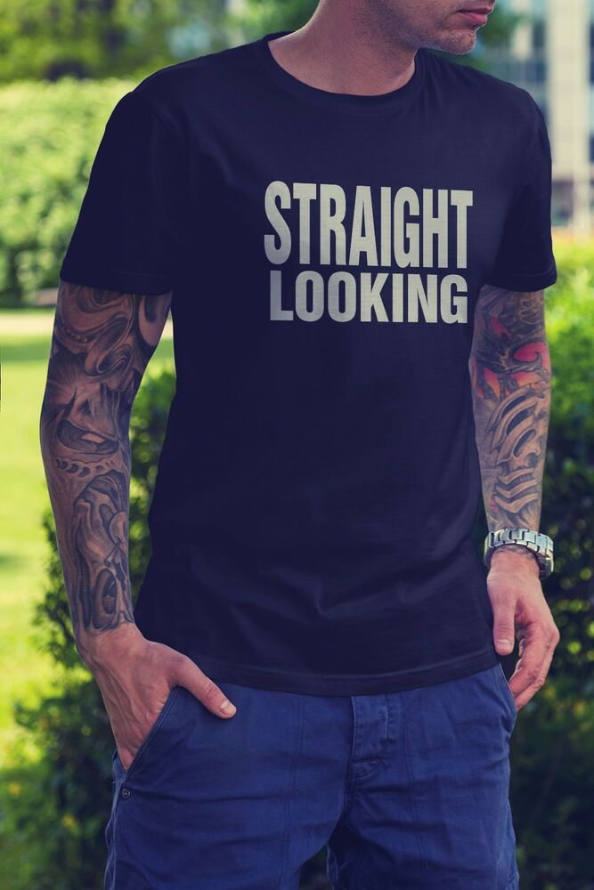 New straight looking funny gay pride black t shirt tee for Straight from the go shirt
